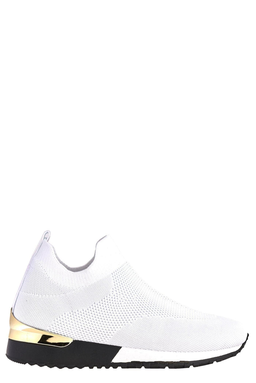 Arizona Slip On Sock Trainer With Gold Detail in White