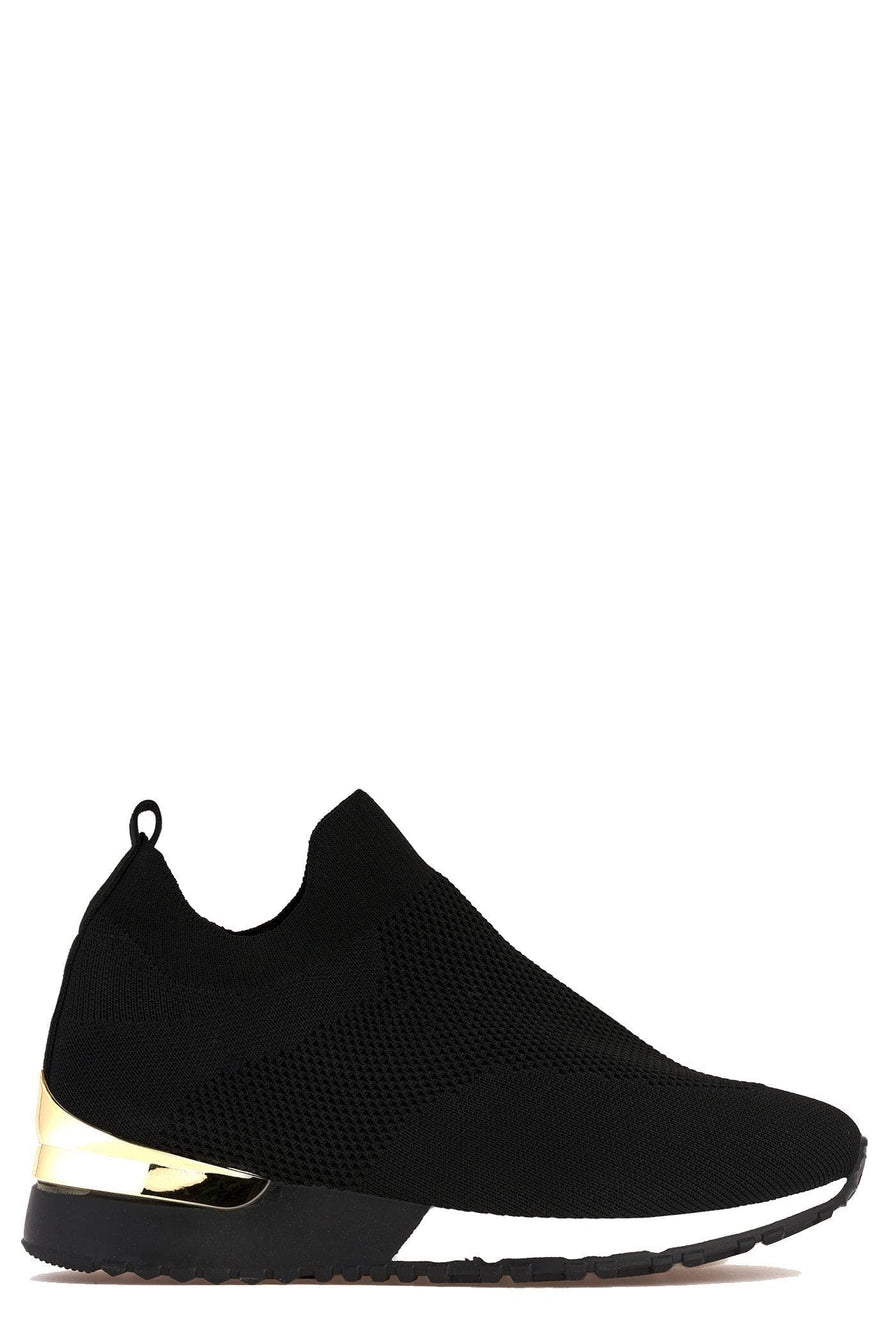 Arizona Slip On Sock Trainer With Gold Detail in Black Trainers Miss Diva Black 6