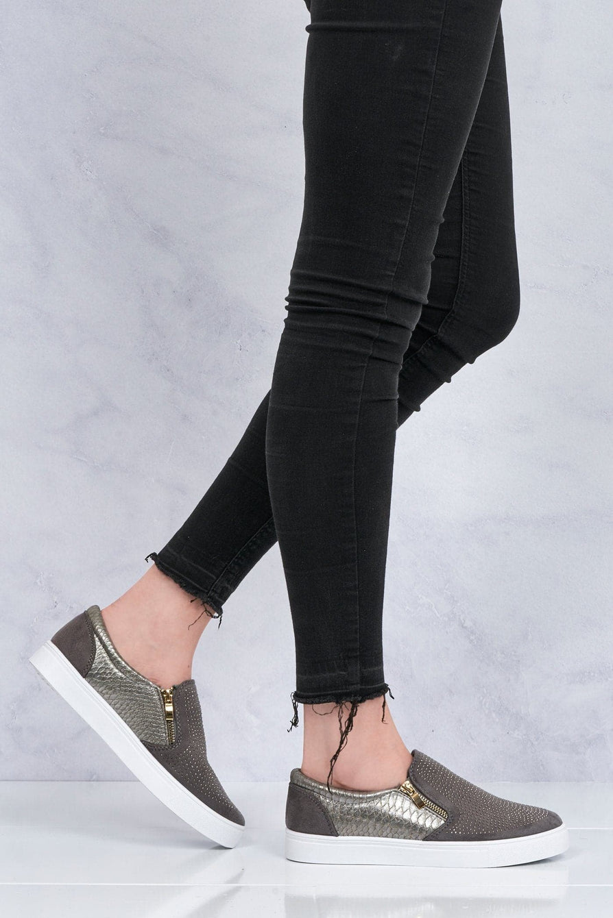 Diamante Side Zip Skater Shoe in Grey