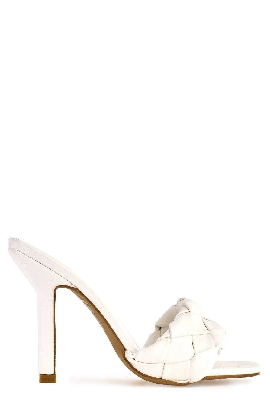 Lopez Plait Detail Front Mid Heel Open Toe Mule in White