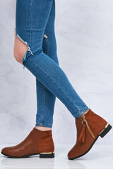 Franky Ankleboot With Ring Zip Detal in Tan Matt Clearance Miss Diva