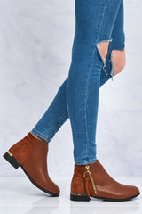Franky Ankleboot With Ring Zip Detal in Tan Matt