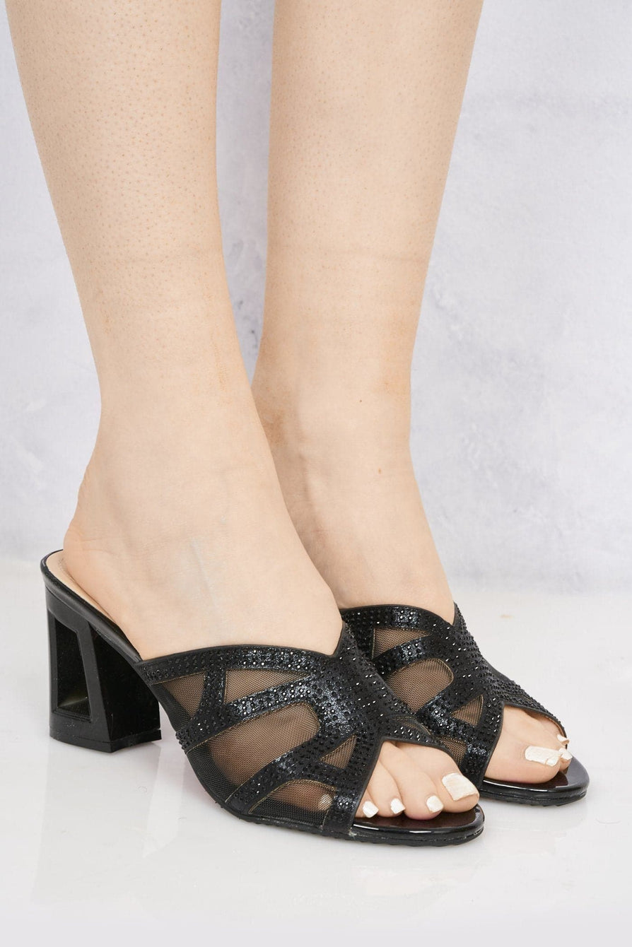 Orla Dia & Mesh Block Heel Mule In Black