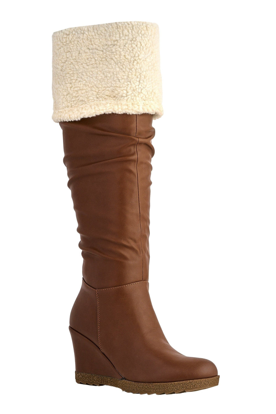 Lousia Fur Wedge Boot in Camel Boots Miss Diva