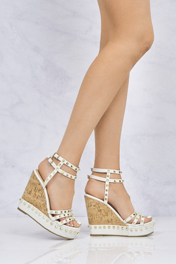Whizzer Studded Cork Anklestrap Wedge In White