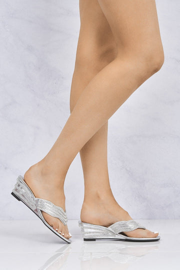 Isabella Diamante Toe Post Mule in Silver Partywear Miss Diva Silver 3