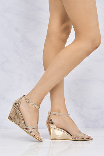 Charlotte Diamante T-Bar Sandal Wedge in Champagne Partywear Miss Diva Champagne 3