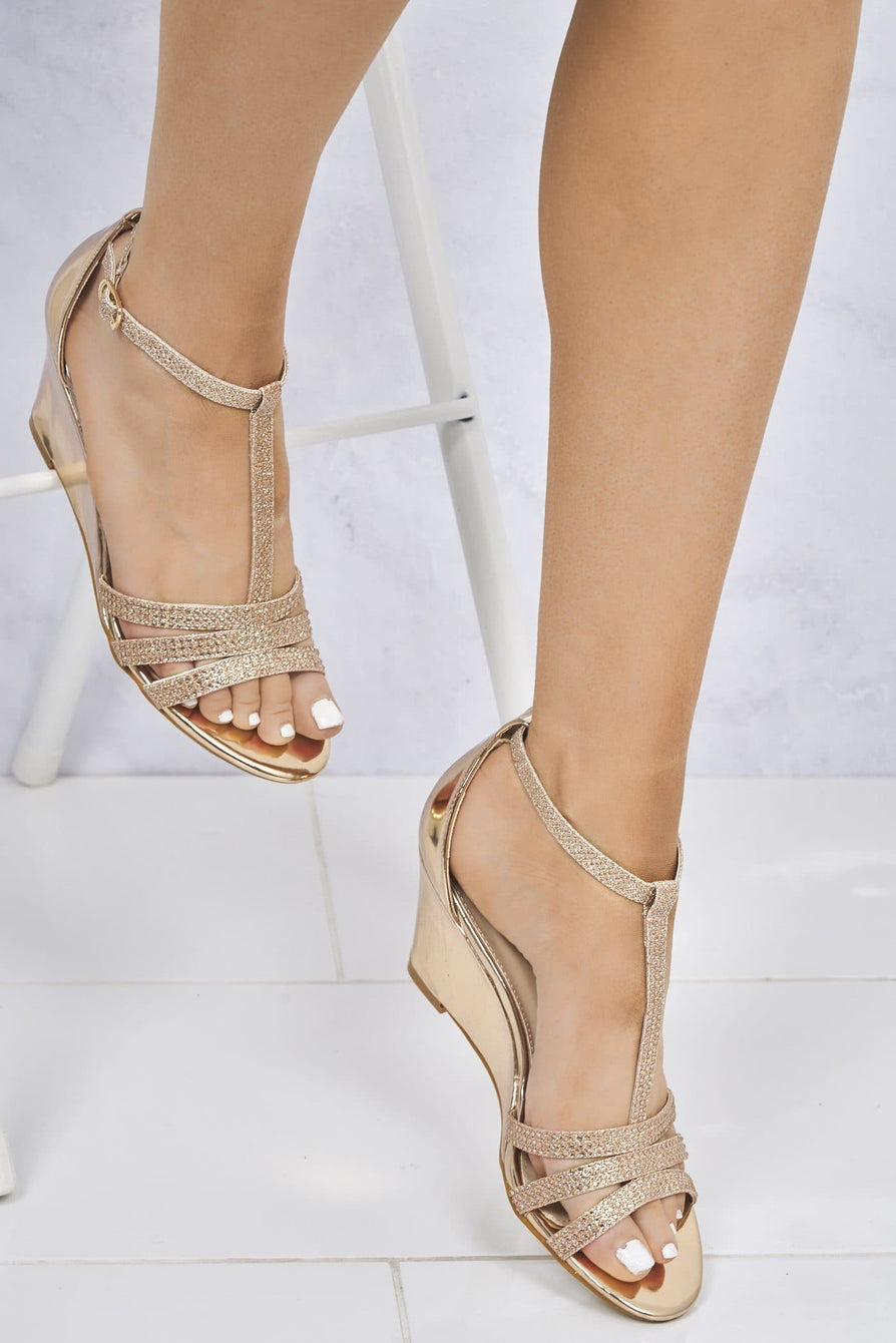 Charlotte Diamante T-Bar Sandal Wedge in Champagne