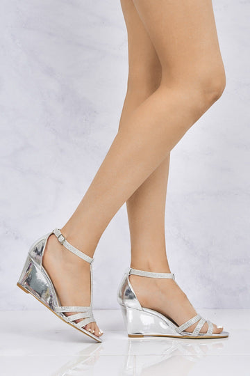 Charlotte Diamante T-Bar Sandal Wedge in Silver
