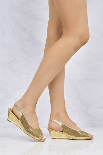 Maizie Peeptoe Diamante Slingback Sandal in Gold Clearance Miss Diva Gold 3