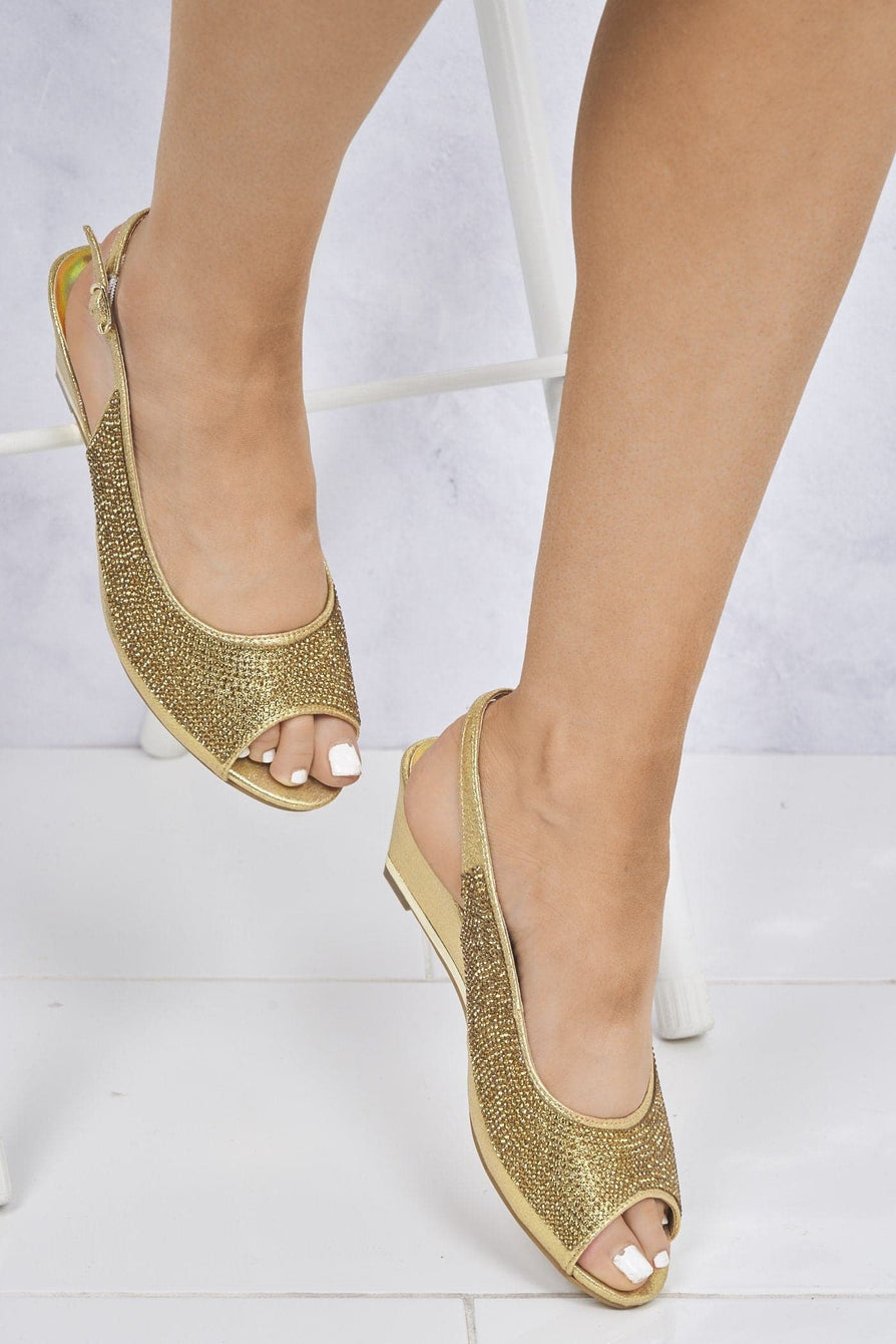 Maizie Peeptoe Diamante Slingback Sandal in Gold Clearance Miss Diva