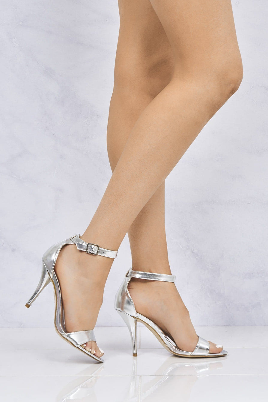Heidi Medium Heel Ankle Strap Sandal in Silver Clearance Miss Diva Silver 3