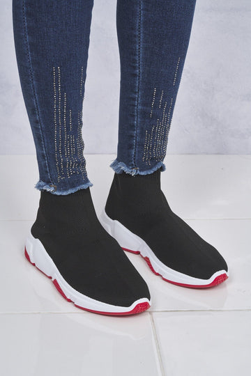 Knitted Slip on Sock Boot in Black/Red