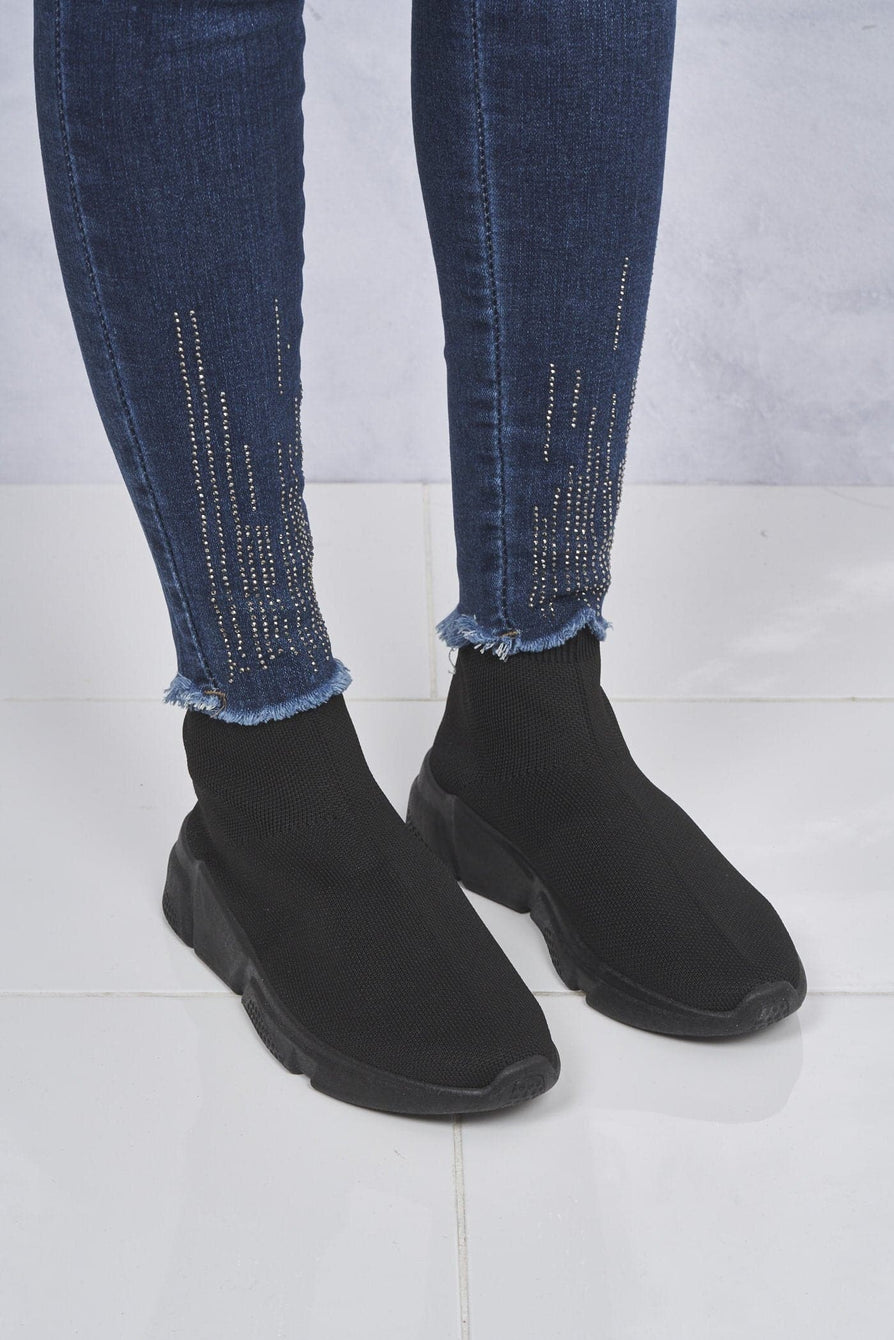 Saint Knitted Slip on Sock Boot in Black/Black Sole