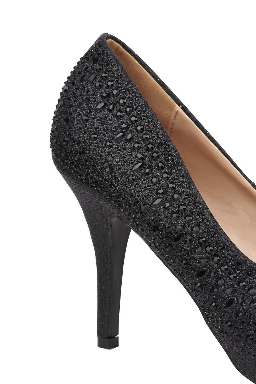 Best Friend Round Toe Platform Diamante Shoe In Black Partywear Miss Diva
