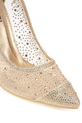 Calaria Diamante Mesh Pointed Toe Court In Champagne