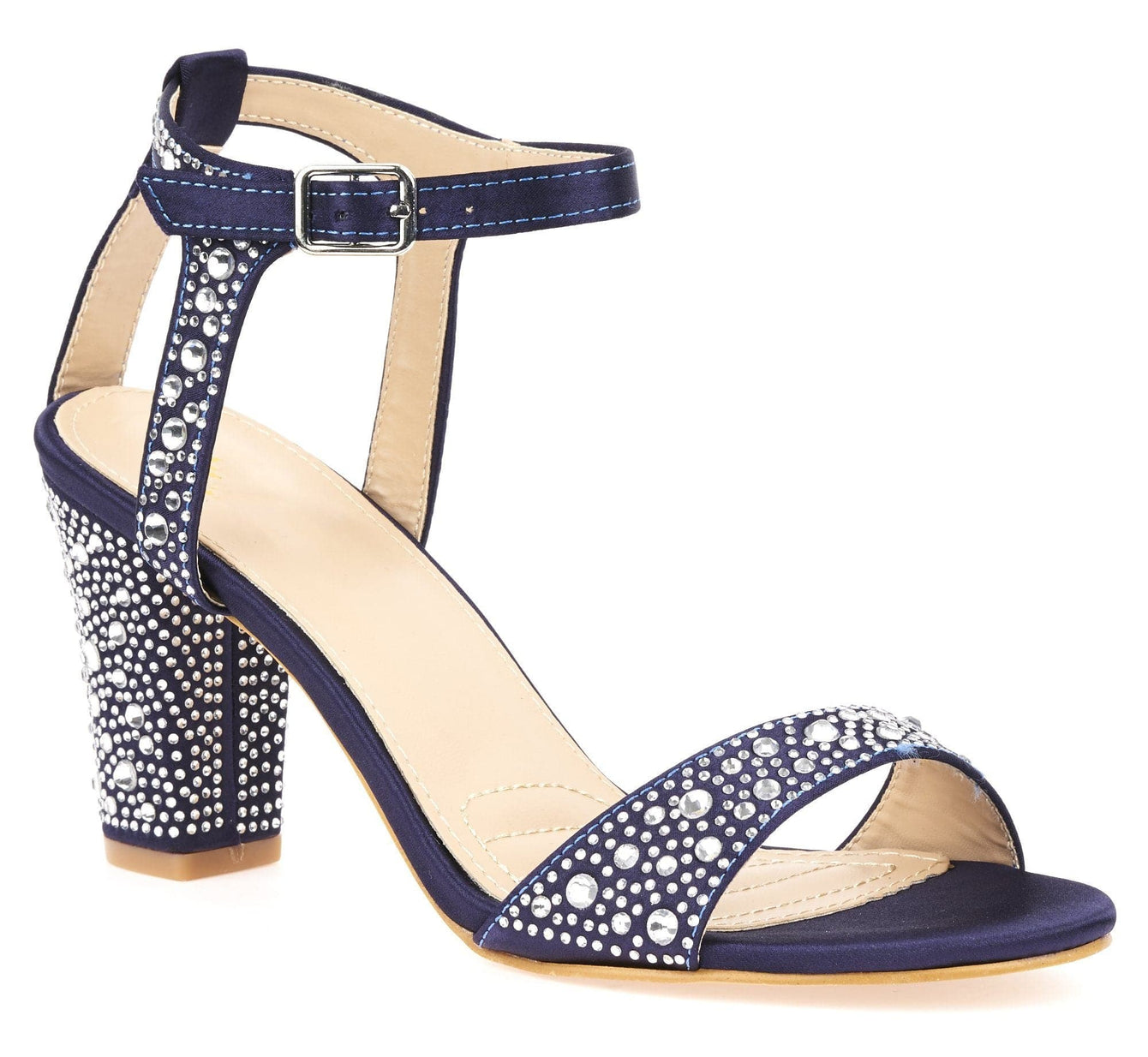 Dia Stud Anklestrap Sandal In Navy Partywear Miss Diva