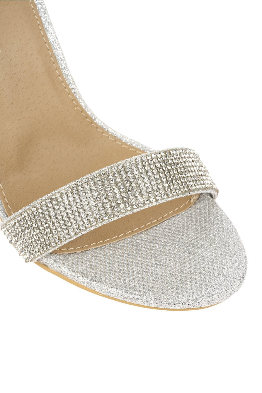 Karla Diamante Band & Heel Anklestrap Sandal In Silver Mesh Partywear Miss Diva