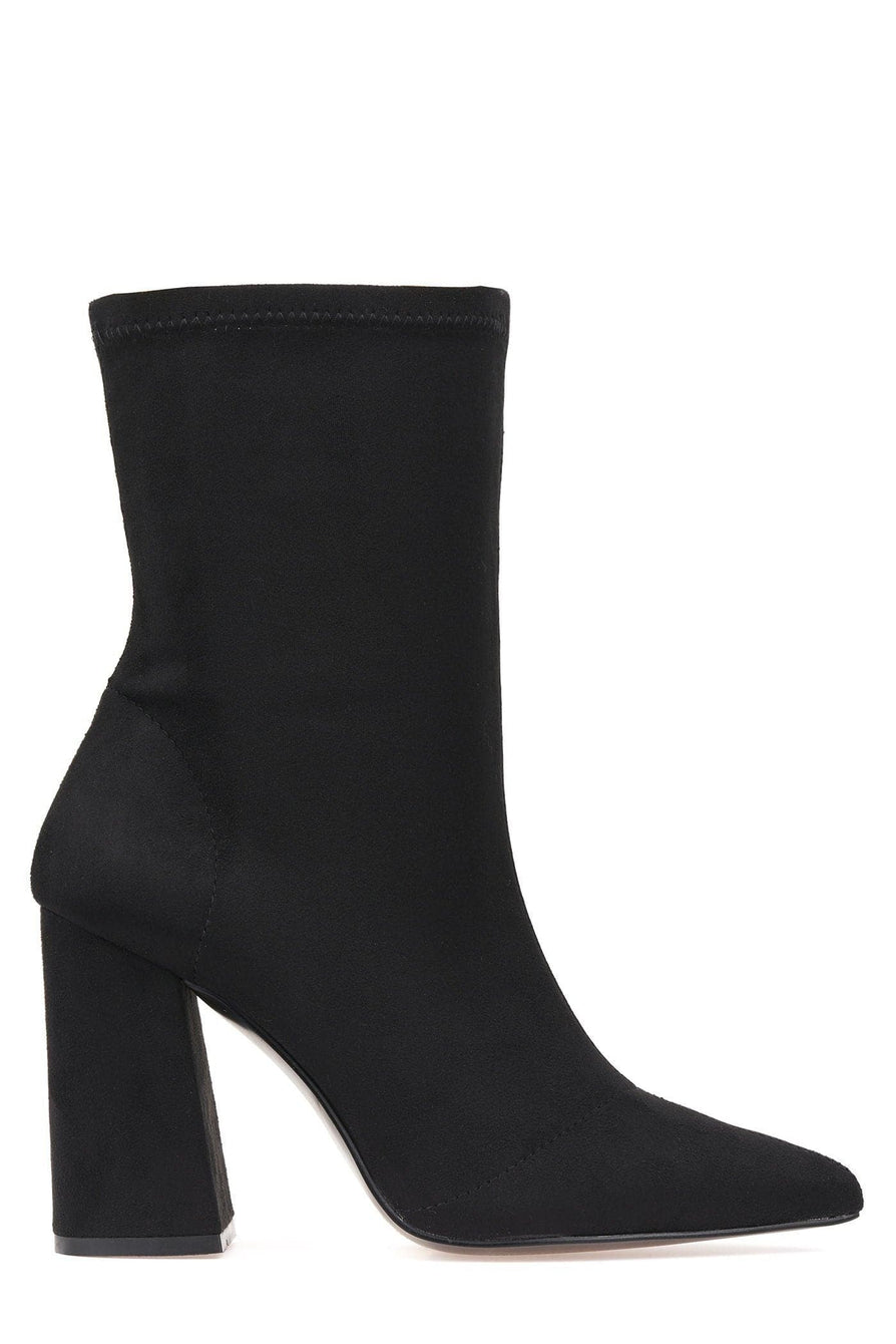 Everly Pointed Toe Flare Heel Calf Boot in Black Suede Boots Miss Diva