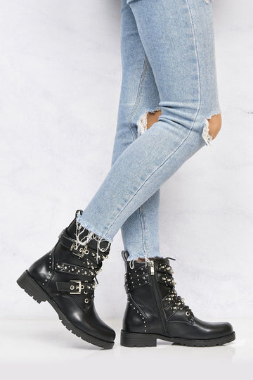 Crossover Stud & Buckle Biker Boot In Black Matt