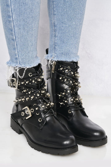 Pixxel Crossover Stud & Buckle Biker Boot In Black Matt