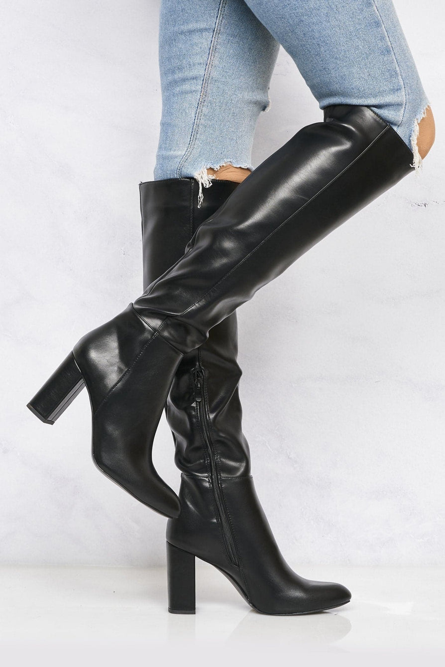 Hana Roundtoe Over The Knee Blockheel Boot In Black Matt