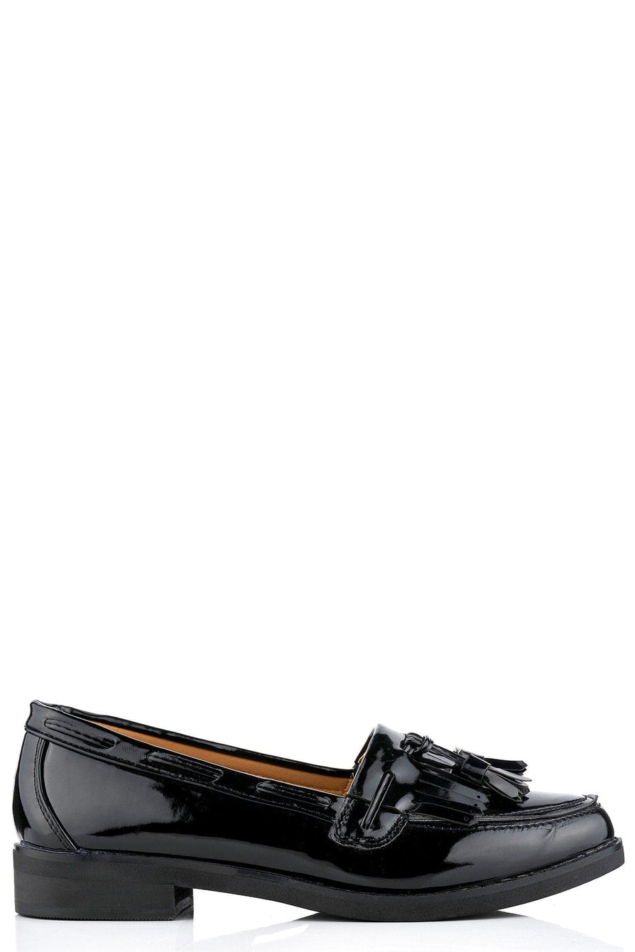 Hetty Flat Fringe Toggle Loafer in Black Patent
