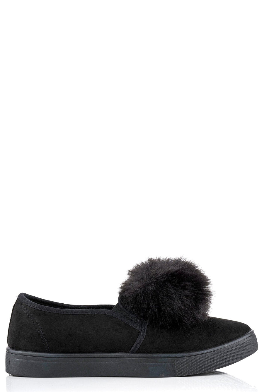 Sherrie faux fur pom pom skater pump in Black Suede