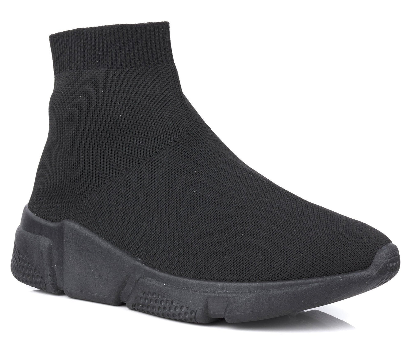 Knitted Slip on Sock Boot in Black Black Sole