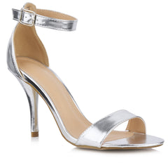 Heidi Medium Heel Ankle Strap Sandal in Silver Clearance Miss Diva