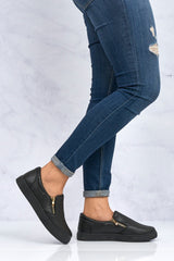 Sania Zip Detail Skater Shoe In Black Sole Clearance Miss Diva Black Black Sole 3