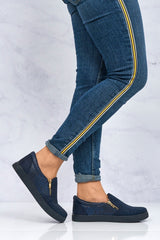 Leah Diamante Side Zip Pump in Navy