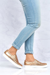 Slip On Glitter Skater Pump in Rose Gold