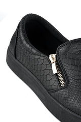 Sania Zip Detail Skater Shoe In Black Sole Clearance Miss Diva