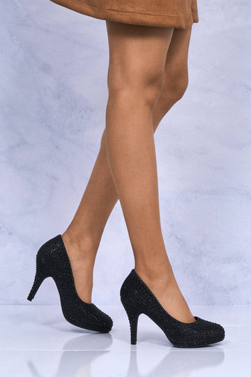 Carnation Round Toe Platform Diamante Shoe in Black Mesh