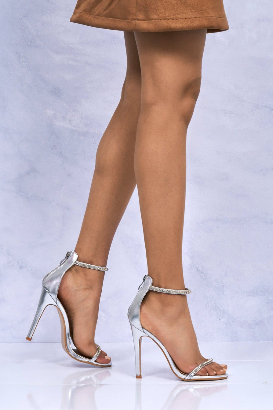Carmella Diamante Ankle And Toe strap Sandal In Silver