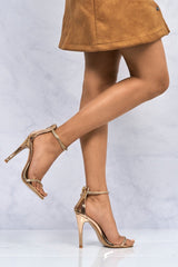 Carmella Diamante Ankle And Toe strap Sandal In Rose Gold