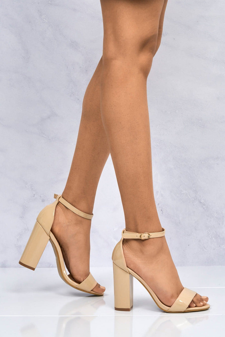 May Barely There Block Heel Ankle Strap Sandal In Nude Patent Heels Miss Diva Nude 3