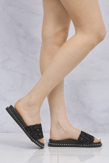 Christina Beaded Cluster Detail Open Toe Slider In Black