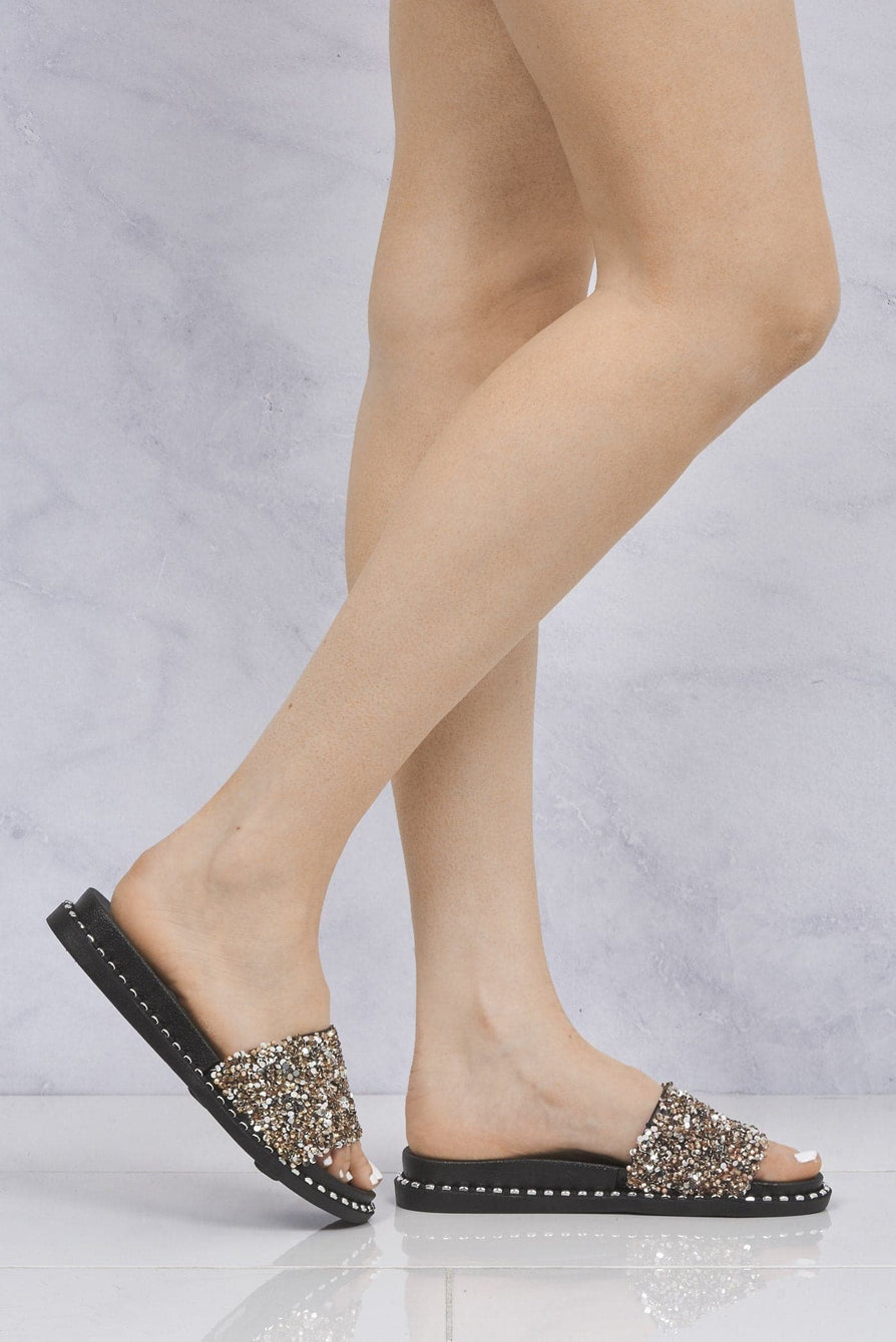 Bead & Sequin Stud Sole Slider in Rose Gold