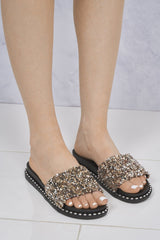 Christina Beaded Cluster Detail Open Toe Slider In Rose Gold