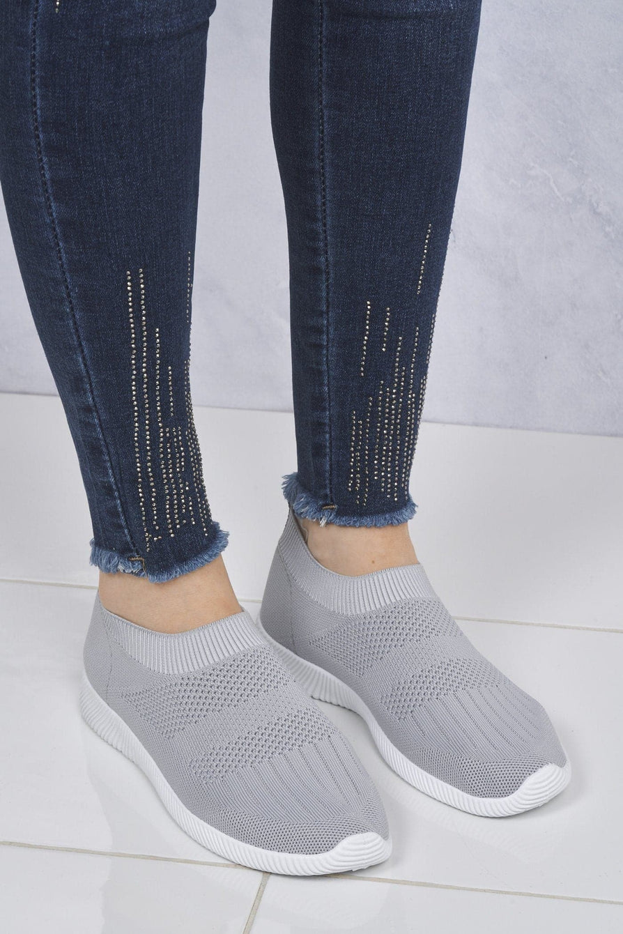 Shaughna Slip On Knitted Trainer in Grey