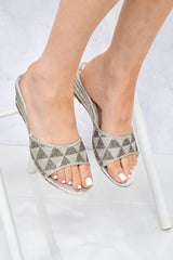 Wamindy Slip On Dia Tri Pattern Wedge in Silver Clearance Miss Diva