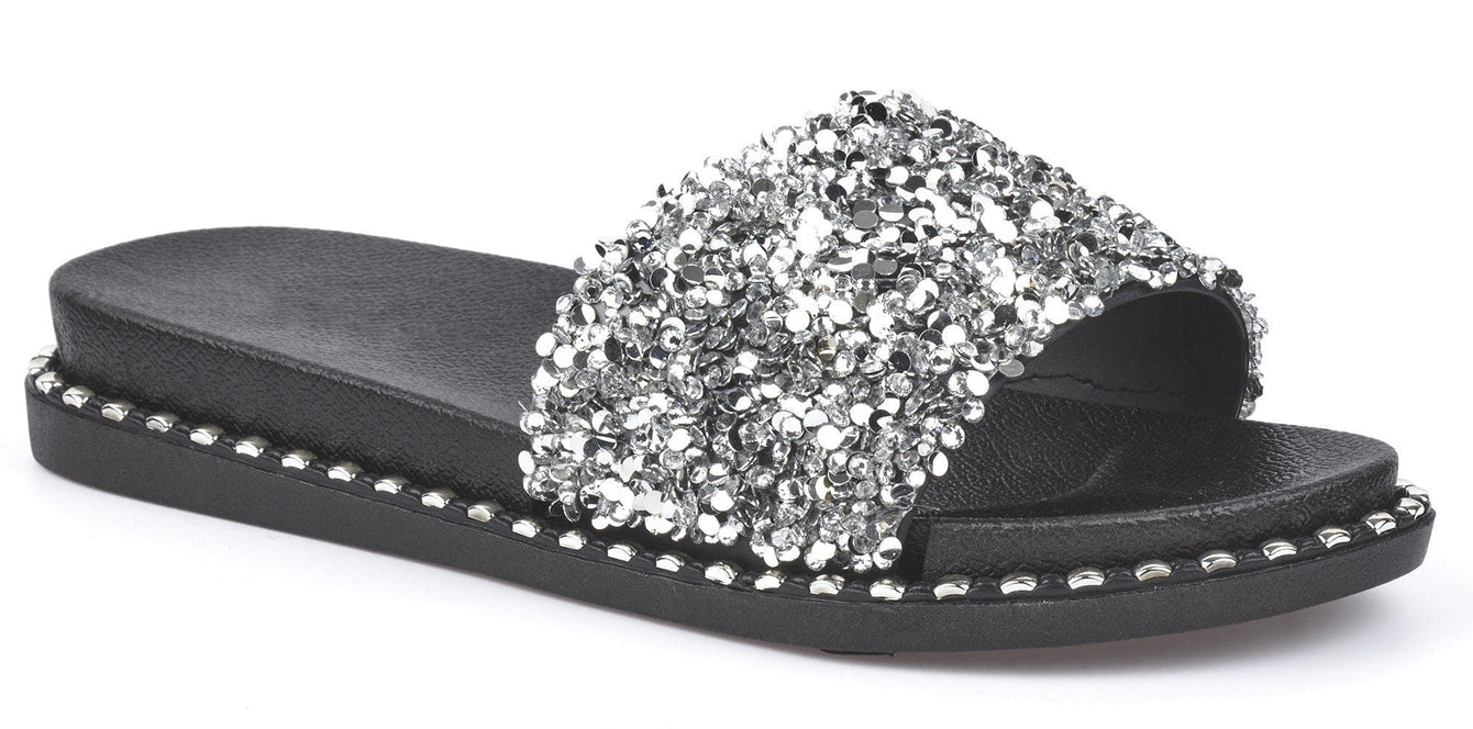 Christina Beaded Cluster Detail Open Toe Slider In Silver