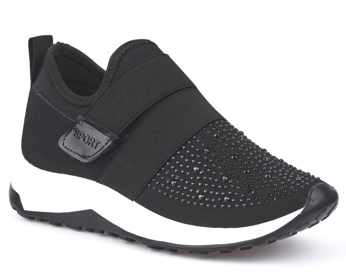 Velcro Strap & Diamante Trainer in Black