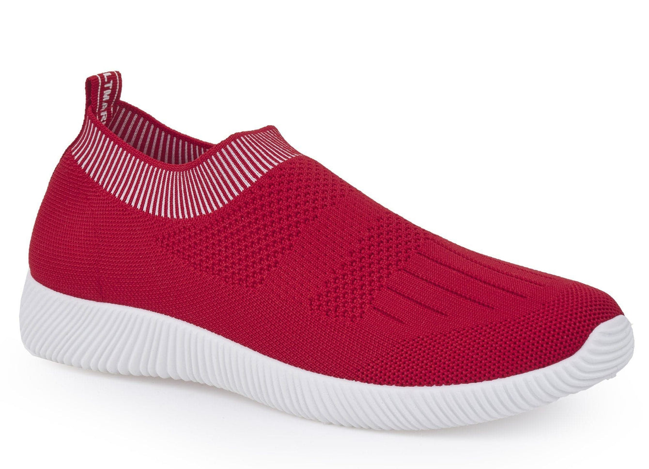 Shaughna Slip On Knitted Trainer in Red Trainers Miss Diva