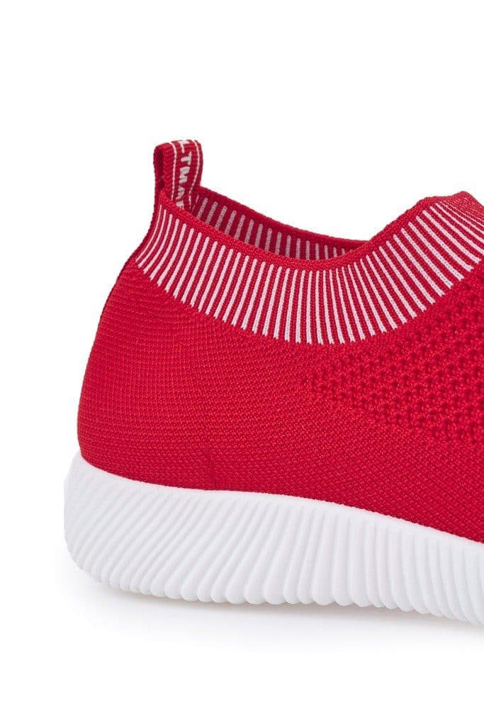 Shaughna Slip On Knitted Trainer in Red