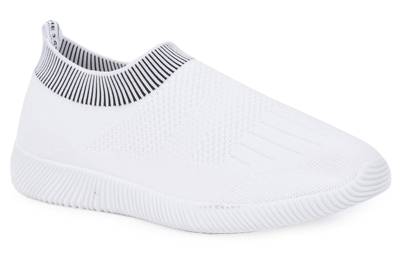 Shaughna Slip On Knitted Trainer in White Trainers Miss Diva