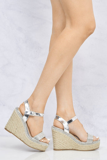 Miccle Espadrille Diamante Trim Wedge Sandal in Silver
