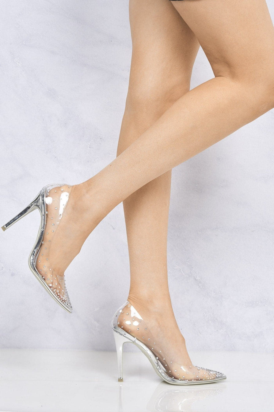 Cindy All Diamante Perspex Court Shoe in Silver
